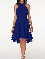 cheap -A-Line Elegant Holiday Cocktail Party Dress Jewel Neck Sleeveless Asymmetrical Knee Length Chiffon with Tier 2020