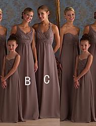 cheap -A-Line Halter Neck / Sweetheart Neckline Floor Length Chiffon Bridesmaid Dress with Ruching
