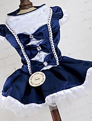 cheap -Dress Dog Clothes Red Blue Costume Acrylic Fibers Bowknot Lace Princess Dresses&Skirts XS S M L