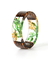 cheap -Couple's Ring Resin 1pc Light Green Resin Wood Round Natural Boho Gift Jewelry Floral Theme Flower Botanical Cute Lovely
