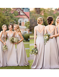 cheap -A-Line Plunging Neck Sweep / Brush Train Satin Bridesmaid Dress with Criss Cross / Open Back