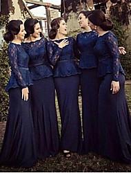 cheap -Mermaid / Trumpet Bateau Neck Sweep / Brush Train Jersey Bridesmaid Dress with Lace / Sash / Ribbon