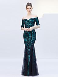 cheap -Mermaid / Trumpet Off Shoulder Floor Length Tulle / Sequined Elegant & Luxurious / Elegant Formal Evening Dress with Sequin 2020