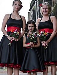 cheap -A-Line Halter Neck Knee Length Satin Bridesmaid Dress with Sash / Ribbon / Ruching