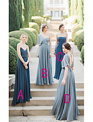 cheap -A-Line Spaghetti Strap / Sweetheart Neckline Floor Length Chiffon Bridesmaid Dress with Draping / Ruching