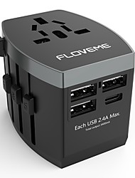 cheap -Floveme Quick Fast Charge 4 USB Ports All in One Travel Adapter Worldwide Adapter Support Phone/Table and Other Devices(Black)