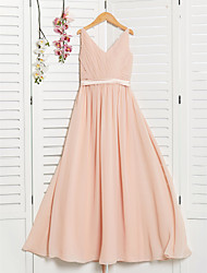 cheap -A-Line V Neck Maxi Chiffon Junior Bridesmaid Dress with Sash / Ribbon / Ruching