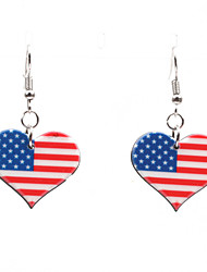 cheap -Women's Earrings Classic American flag Heart Flag Patriotic Jewelry European Trendy Earrings Jewelry Silver For Gift Festival 1 Pair