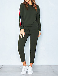 cheap -Women's Sports Casual Cotton Hoodie - Solid Colored, Stripe Pant / Winter / Sporty Look
