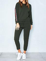 abordables -Femme Simple Coton Sweat à capuche - Couleur Pleine, Bandes Pantalon / Hiver / Look Sportif