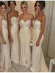 cheap -Mermaid / Trumpet Sweetheart Neckline Sweep / Brush Train Satin Bridesmaid Dress with Sequin