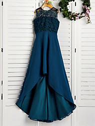 cheap -A-Line Asymmetrical Junior Bridesmaid Dress Party Chiffon Sleeveless Jewel Neck with Lace