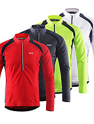 cheap -Arsuxeo Men's Long Sleeve Cycling Jersey Downhill Jersey Winter Fleece Polyester White Green Red Bike Jersey Mountain Bike MTB Road Bike Cycling Breathable Quick Dry Reflective Strips Sports Clothing