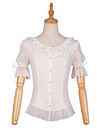 cheap -Artistic / Retro Stylish Cute Blouse / Shirt Cosplay Costume Halloween Props Maid Suits All Velvet Chiffon Japanese Cosplay Costumes White Solid Colored Bowknot Lace Puff Sleeve Half Sleeve Knee