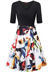 cheap -Women's Swing Dress Blue White Black L XL XXL
