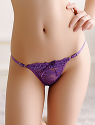cheap -Women's Lace / Bow G-strings & Thongs Panties - Normal Low Waist Black White Purple One-Size