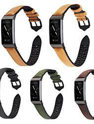 abordables -pour fitbit charge 3 bracelets de silicone coller cuir luxueux bracelet de montre en cuir bracelet d'affaires durable