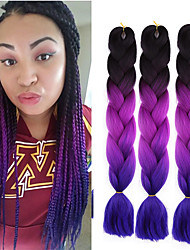 cheap -Crochet Hair Braids Jumbo Box Braids Natural Color Synthetic Hair 24 inch Braiding Hair 3 Pieces Heat Resistant