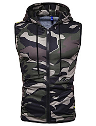cheap -Men's Camo / Camouflage Tank Top Basic Daily Hooded Black / Red / Green / Sleeveless