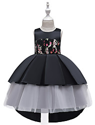 cheap -Kids Toddler Girls' Active Cute Floral Color Block Plaid Lace Bow Ruched Sleeveless Knee-length Dress Black