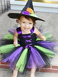 cheap -Kids Toddler Girls' Active Cute Black Patchwork Backless Mesh Patchwork Sleeveless Knee-length Dress Black