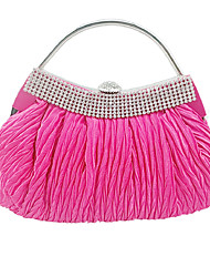 cheap -Women's Crystals Silk Evening Bag Solid Color Fuchsia