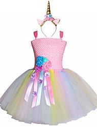 cheap -Pastel Flower Unicorn Tutu Dresses Sweet Girl Birthday Party Children Tulle Princess Fancy Headband