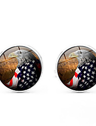 cheap -Cufflinks Flag American flag Classic European Brooch Jewelry Black Silver Golden For Daily Festival