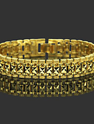 cheap -Men's Chain Bracelet Wide Bangle Classic Leaf Precious Stylish Trendy Brass Bracelet Jewelry Gold For Daily Work / Gold Plated