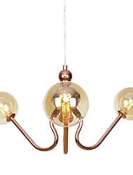 Недорогие -3-х головная люстра северная современная европа винтаж золотая люстра стеклянные молекулы подвесные светильники гостиная спальня столовая 110-120v / 220-240v