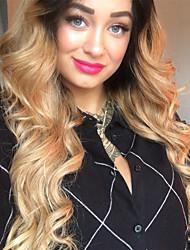 Недорогие -человеческие волосы Remy Полностью ленточные Парик Средняя часть стиль Бразильские волосы Крупные кудри Парик 130% 150% 180% Плотность волос