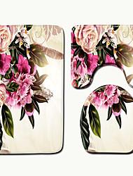 cheap -1 set Classic Bath Mats 100g / m2 Polyester Knit Stretch Novelty / Floral Print Non-Slip / New Design