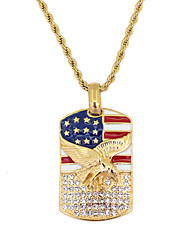 cheap -Men's Pendant Necklace American flag Eagle Flag Patriotic Jewelry European Trendy Casual / Sporty Stainless Steel Gold 60 cm Necklace Jewelry 1pc For Gift Daily Festival