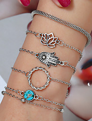 cheap -5pcs Women's Pendant Bracelet Layered Flower European Casual / Sporty Ethnic Fashion Alloy Bracelet Jewelry Silver For Daily Street Holiday Work