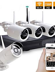abordables -Kit de système de sécurité de kit de nvr sans fil de caméra de télévision en circuit fermé 4ch