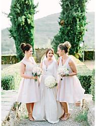 cheap -A-Line V Neck Knee Length Chiffon Bridesmaid Dress with Ruching