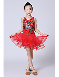 cheap -Latin Dance Kids' Dancewear Dress Satin Bow Beading Ruching Girls' Performance Sleeveless Natural Organza