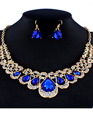 cheap -Women's Blue Bridal Jewelry Sets Link / Chain Crown Pear Vintage Fashion Rhinestone Earrings Jewelry Blue For Wedding Party Engagement Gift Festival 1 set