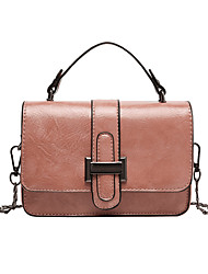 cheap -Women's Chain Polyester / PU Top Handle Bag Solid Color Black / Brown / Dark Brown