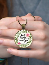 cheap -Men's Women's Multicolor Necklace Handmade Letter Hope Faith Prayer Vintage Casual / Sporty Glass Chrome Bronze 50+5 cm Necklace Jewelry 1pc For Gift