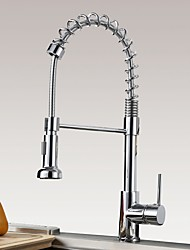 cheap -Kitchen faucet - Single Handle One Hole Chrome Pull-out / ­Pull-down Centerset Contemporary Kitchen Taps