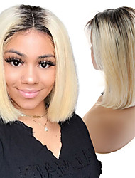 cheap -Human Hair Lace Front Wig Bob style Brazilian Hair Straight Golden Wig 130% Density Women Best Quality New New Arrival Hot Sale Women's Short Wig Accessories Human Hair Lace Wig Laflare