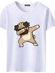 cheap -Men's Daily Sports Basic / Street chic T-shirt - Animal / Cartoon Dog Black