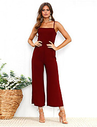 cheap -Jumpsuits Spaghetti Strap Ankle Length Satin Open Back / Elegant Cocktail Party / Holiday Dress with 2020