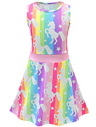cheap -Kids Toddler Girls' Active Street chic Unicorn Cartoon Sleeveless Above Knee Dress Blushing Pink