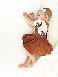 abordables -bébé Fille Actif / Basique Couleur Pleine Jupe Marron