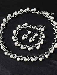 cheap -Women's White Bridal Jewelry Sets Link / Chain Botanical Classic Sweet Fashion Imitation Pearl Rhinestone Earrings Jewelry Gold / Silver For Wedding Party Engagement Holiday Festival 1 set