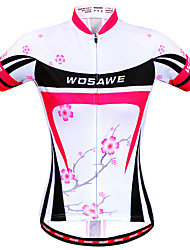 cheap -WOSAWE Women's Short Sleeve Cycling Jersey Tankini Red Floral Botanical Bike Jersey Top Mountain Bike MTB Road Bike Cycling Windproof Breathable Quick Dry Sports Clothing Apparel / Anatomic Design