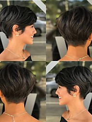 cheap -Human Hair Wig Short Straight Natural Straight Bob Pixie Cut Layered Haircut Asymmetrical Black Fashionable Design Adjustable Comfortable Capless Women's All Natural Black 8 inch / Natural Hairline
