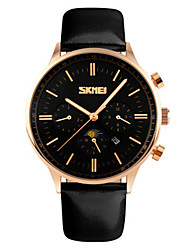 cheap -SKMEI Men's Dress Watch Japanese Quartz Genuine Leather Black / Blue / Brown 30 m Water Resistant / Waterproof Calendar / date / day New Design Analog Casual Fashion - Black Blue Rose Gold Two Years